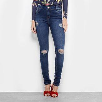 ffdc2242c Calça Jeans Skinny Dimy Rasgada Cintura Alta Feminina