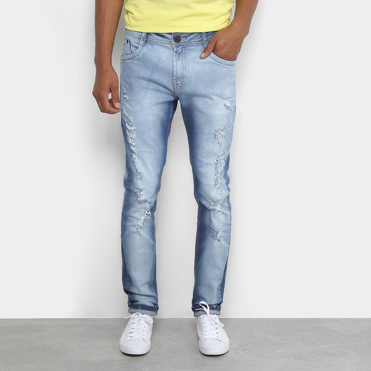 4ed40adb0e Calça Jeans Skinny Dimy Puídos Masculina
