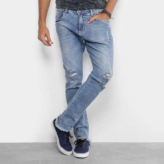 f75d68fc0 Calça Jeans Skinny Local Cropped Barra Desfiada Masculina | Zattini