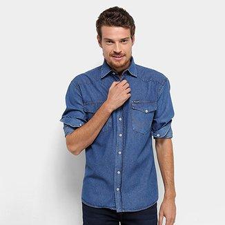 d2e99bd61 Camisa Jeans Wrangler Manga Longa Detalhe Bolso Masculina