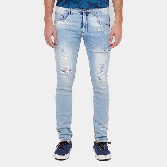 Calça Jeans Skinny Rock   Soda Clara Rasgada Frases Masculina - Jeans d2b6151567731