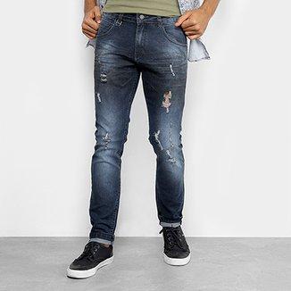 Calça Jeans Skinny Rock   Soda Estonada Puídos Masculina d80b3801b7a55