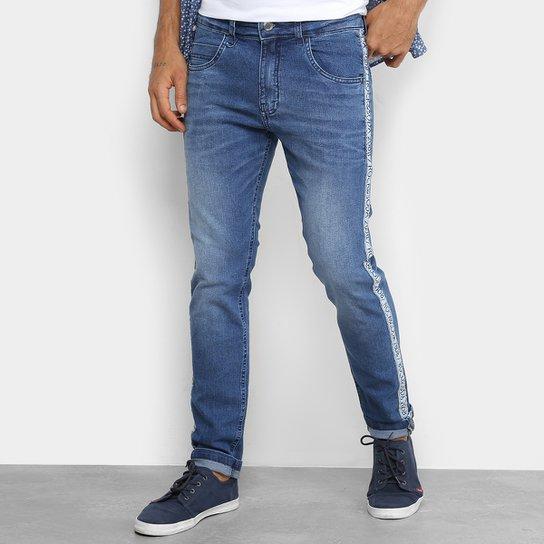 ac1cc28e0 Calça Jeans Skinny Rock & Soda Estonada Faixa Lateral Masculina - Azul