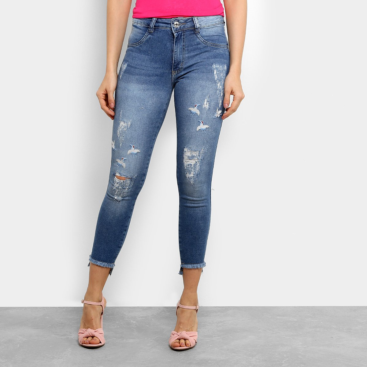 61bc70bec Calça Jeans Skinny Biotipo Cigarrete Bordado Cintura Média Feminina