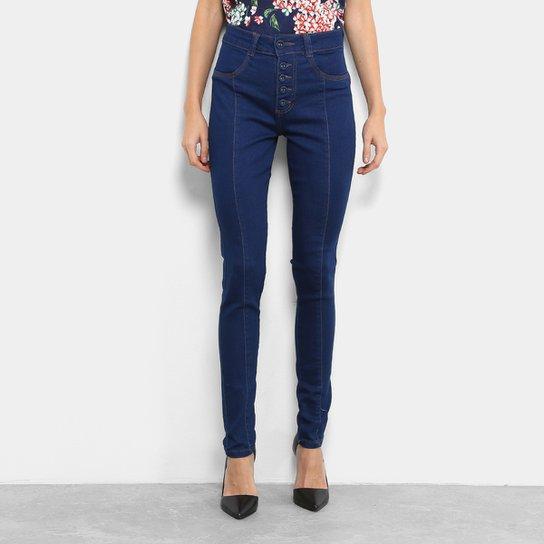 Calça Jeans Skinny Biotipo Cigarrete Botões Cintura Alta Feminina - Jeans 9937bf33f78