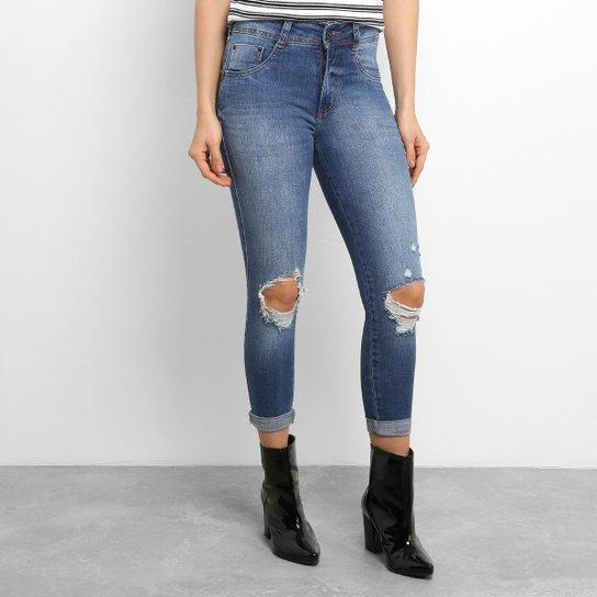 1190eacfb Calça Jeans Skinny Biotipo Cigarrete Puídos Cintura Alta Feminina - Jeans