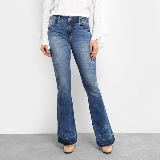 c0d0010e46e07 Calça Jeans Flare Biotipo Barra com Reserva Cintura Média Feminina - Jeans
