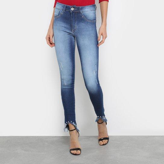 c35de3962 Calça Jeans Skinny Biotipo Barra Desfiada Cintura Média Feminina - Azul