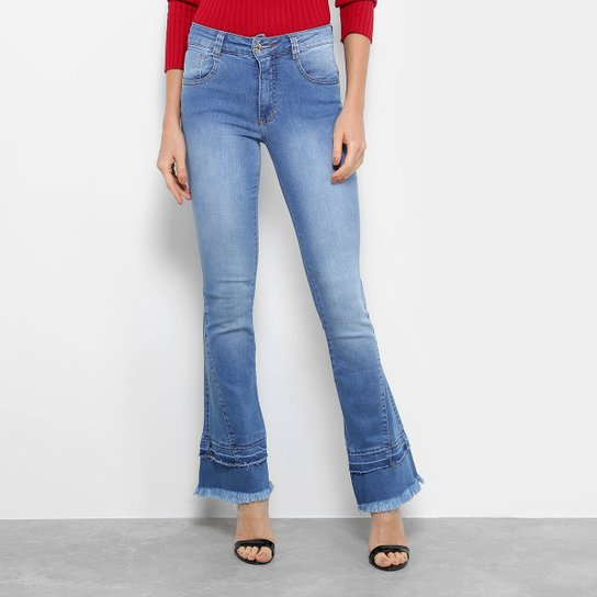 d43ed8c10 Calça Jeans Flare Biotipo com Franja Cintura Média Feminina - Compre ...
