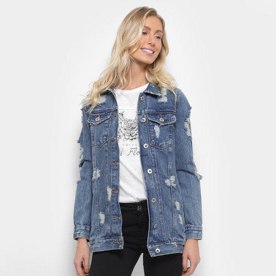 e80b95fc3d Jaqueta Jeans Biotipo com Puídos Feminina - Compre Agora