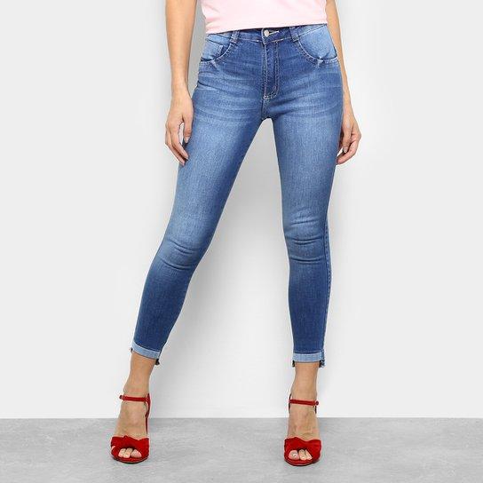 45d760ed0 Calça Jeans Skinny Biotipo Estonada Midi Cintura Média Feminina - Azul