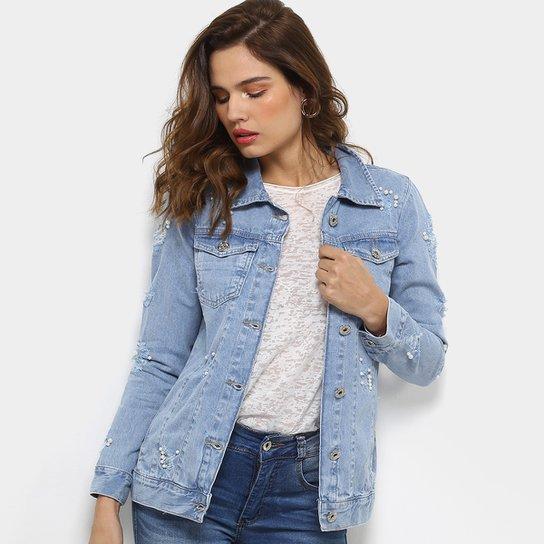 a15f224ab5 Jaqueta Jeans Biotipo Longa Destroyed Pérolas Feminina - Compre ...