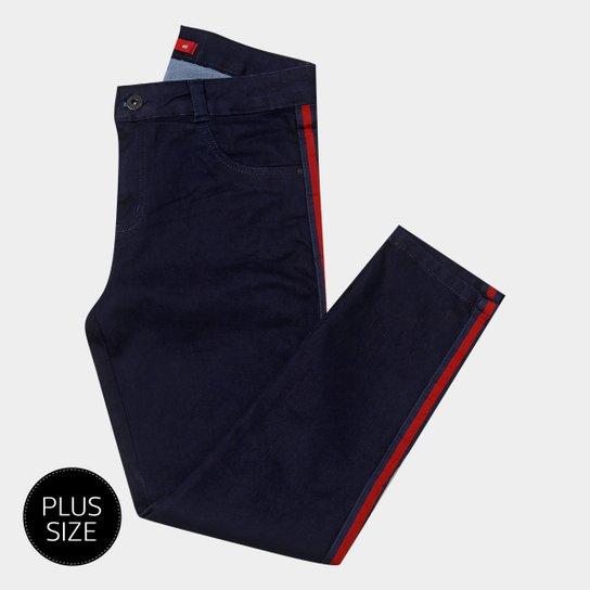 70d83c424 Calça Jeans Skinny Biotipo Plus Size Faixa Lateral Cintura Alta Feminina -  Azul Escuro