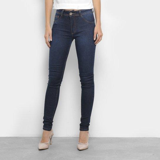 Calça Jeans Skinny Biotipo Lisa Cintura Média Feminina - Azul Escuro 44e5533823a