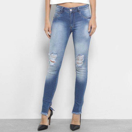 3df5263954 Calça Jeans Skinny Biotipo Estonada Rasgos Fenda Cintura Média Feminina -  Azul
