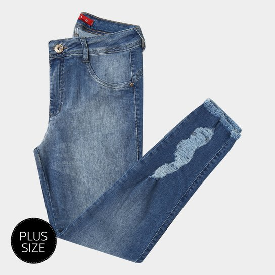 f259dbb5d Calça Jeans Plus Size Biotipo Skinny Rasgos Barra Desfiada Cintura Média  Feminina - Azul