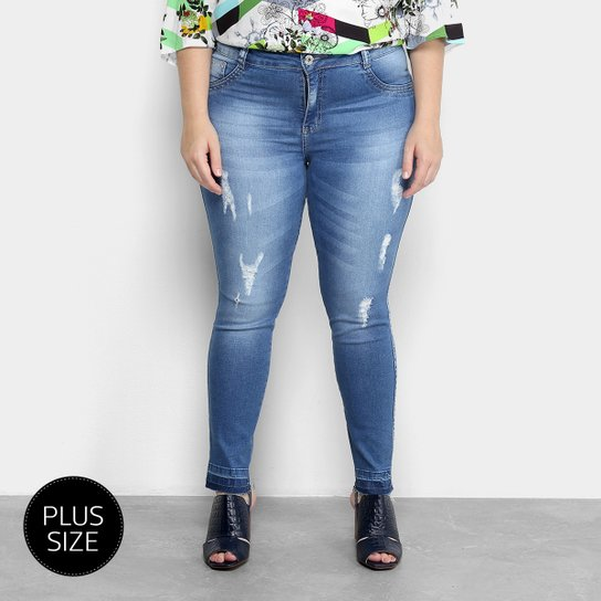 87208b9d1bdb65 Calça Jeans Skinny Biotipo Estonada Cintura Média Plus Size Feminina - Azul