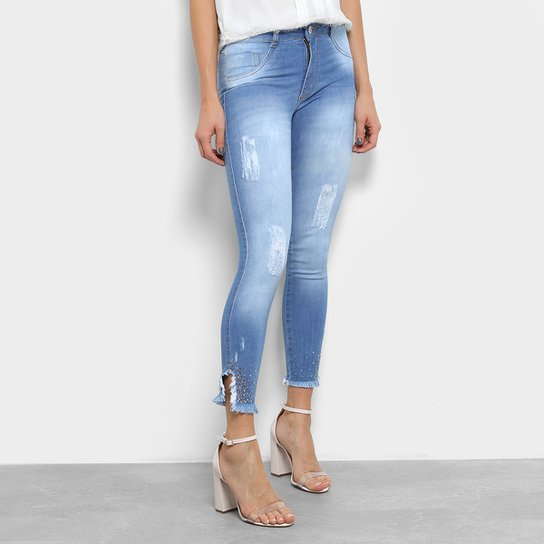 Calça Jeans Biotipo Skinny Strass Barra Desfiada Feminina - Compre ... 644a0af4cf4