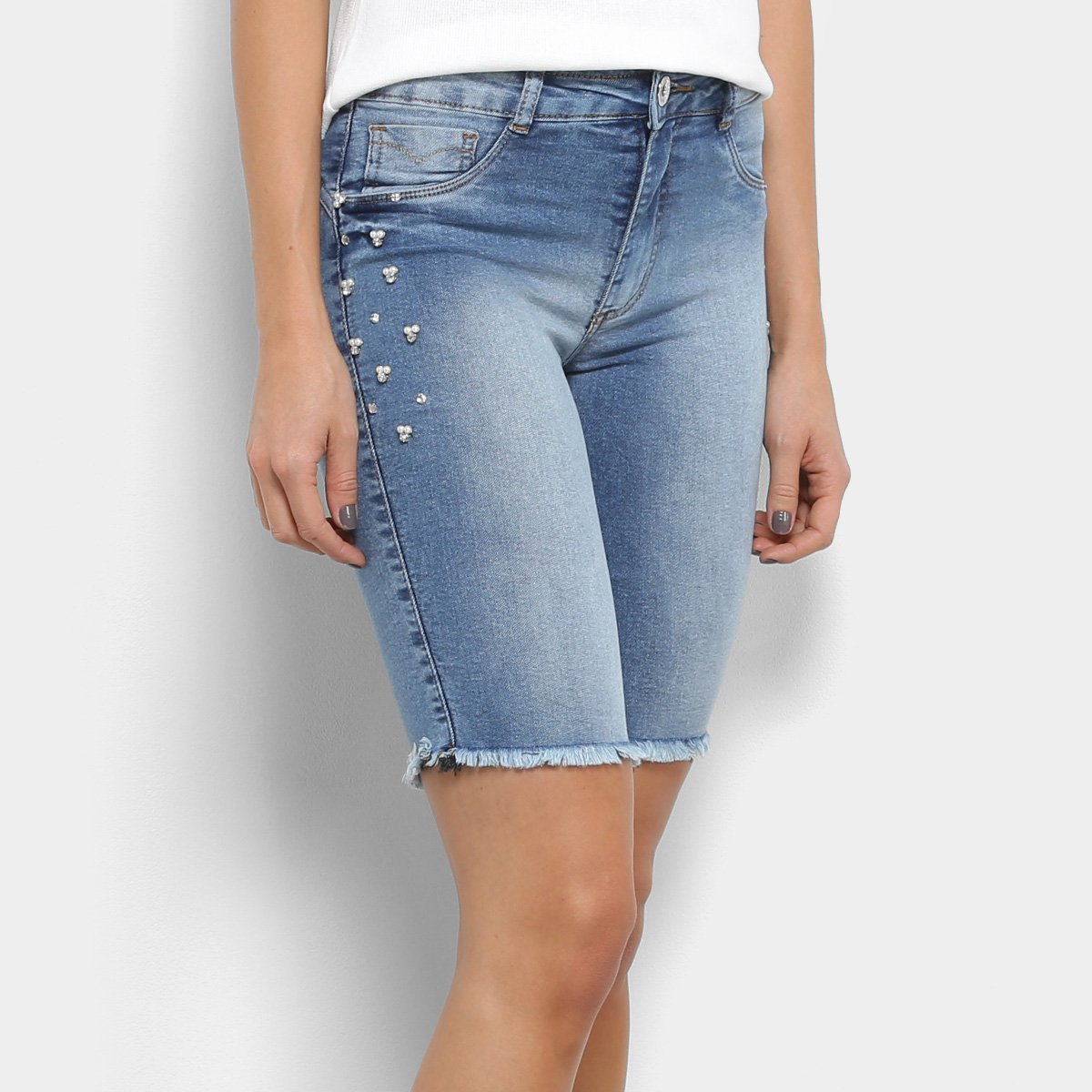 f1222359a6 Bermuda Jeans Biotipo Cintura Média Pérolas Feminina