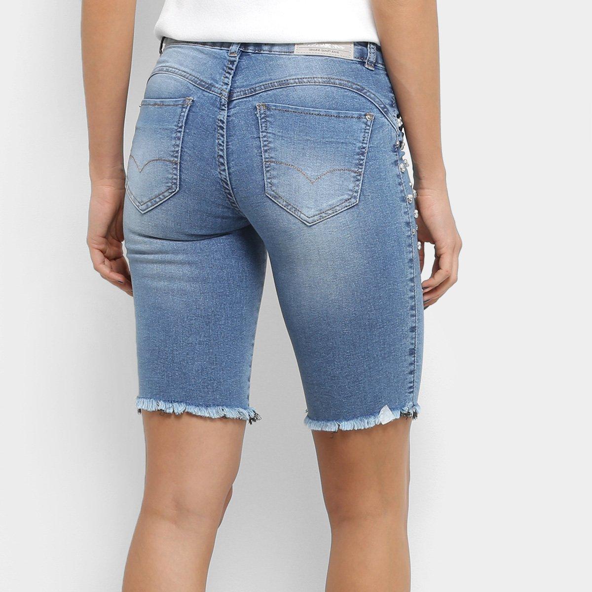 153e6f39c Bermuda Jeans Biotipo Cintura Média Pérolas Feminina   Livelo -Sua ...