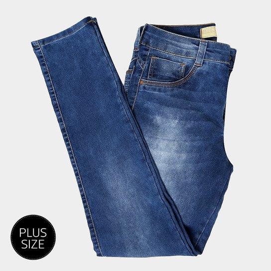 Calças Jeans Cigarrete Biotipo Plus Size Cintura Alta Feminina - Azul 21eb346d8f6