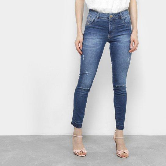 69f164952 Calça Jeans Skinny Biotipo Estonada Cintura Alta Feminina - Azul ...