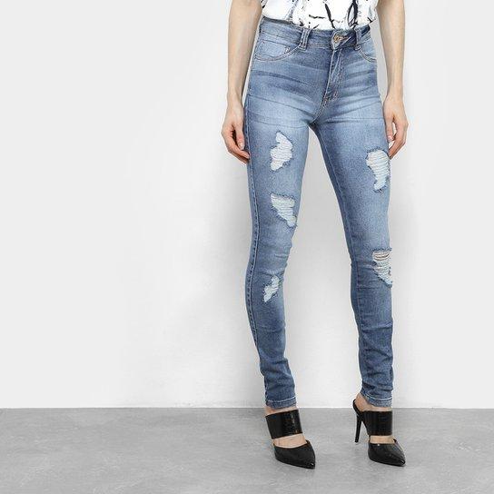 b99e4fa5ce Calça Jeans Biotipo Cigarrete Hot Pants Cintura Alta Feminina - Azul Escuro