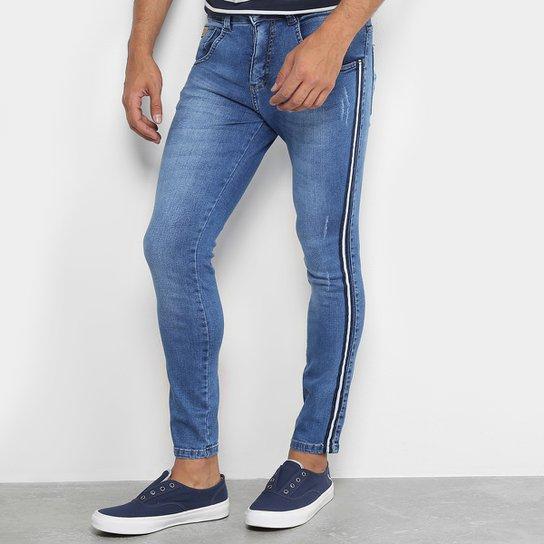 Calça Jeans Skinny Biotipo Faixa Lateral Masculina - Azul - Compre ... 200c42a46f3