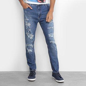 92b4207ff7 Calça Jeans Slim Coca-Cola New Carrot Destroyed Cintura Média Masculina