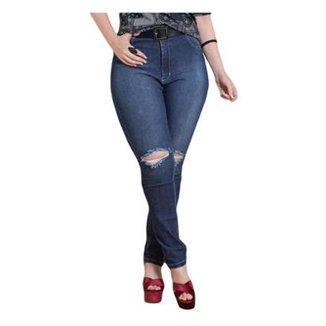 7f994e9f55 Calça Jeans Skinny Quintess Rasgada no Joelho Plus Size