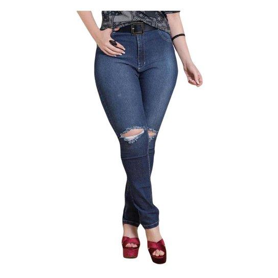 Calça Jeans Skinny Quintess Rasgada no Joelho Plus Size - Compre ... 29d61022cad