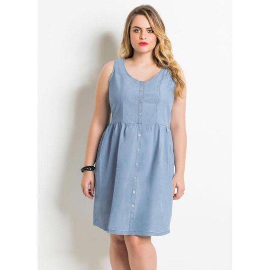 c3ab9aa1e Vestido Plus Size Jeans Azul sem Mangas Quintess - Compre Agora ...