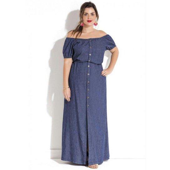 74ee6bff0 Vestido Longo Jeans Ciganinha Plus Size Quintess - Compre Agora ...