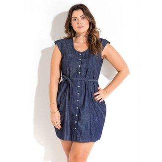 6e0fc0113 Vestido Jeans com Amarração Quintess Plus Size