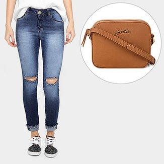9e4acf87f Kit Calça Über Jeans Skinny Rasgada Barra Dobrada + Bolsa Jorge Alex Ombro