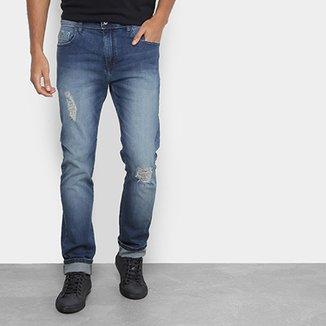 0effd5fc4 Calça Jeans Slim Acostamento Estonada Rasgos Masculina