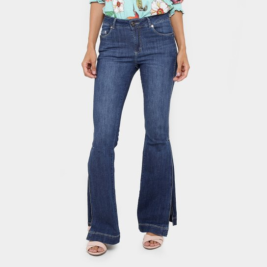 fe95edcfa9 Calça Jeans Flare Gup s Jeans Fendas Cintura Média Feminina - Compre ...