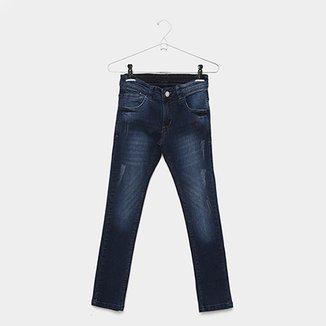 eac77ba5058fc Calça Jeans Infantil Grifle Skinny Estonada Puídos Masculina