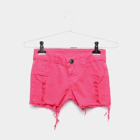37b9c9ec93 Short Jeans Infantil Grifle Rasgado Feminino - Pink - Compre Agora ...
