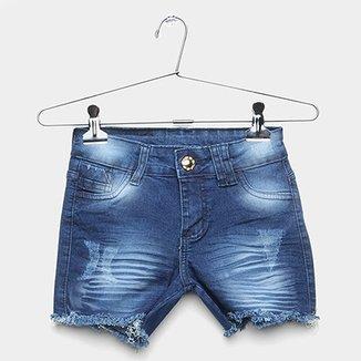 c98ef09015de6 Short Jeans Infantil GRIFLE Barra Desfiada Estonado Feminino
