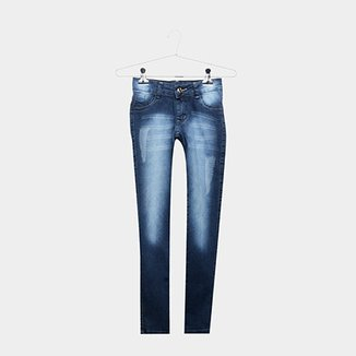 358499611c Calça Jeans Infantil Grifle Estonada Cintura Média Feminina