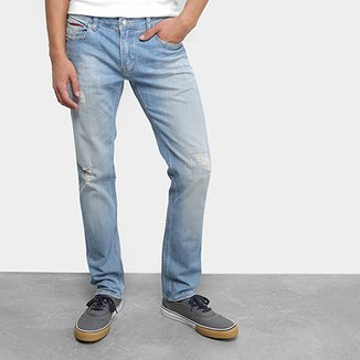 e0c3c0bfb Calça Jeans Slim Tommy Jeans Estonada Scanton Sgllb Masculino