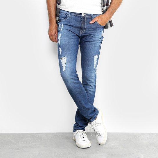 ee2f1cc0 Calça Jeans Skinny Preston Classic Destroyed Elastano Masculina - Jeans