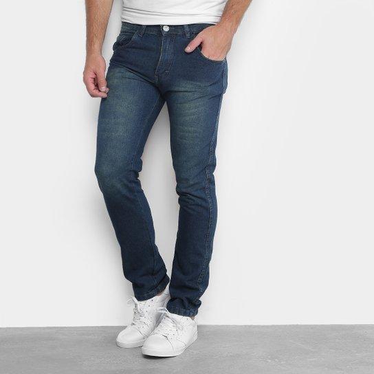 b50b4fe86 Calça Jeans Skinny Preston Estonada Masculina - Azul Escuro