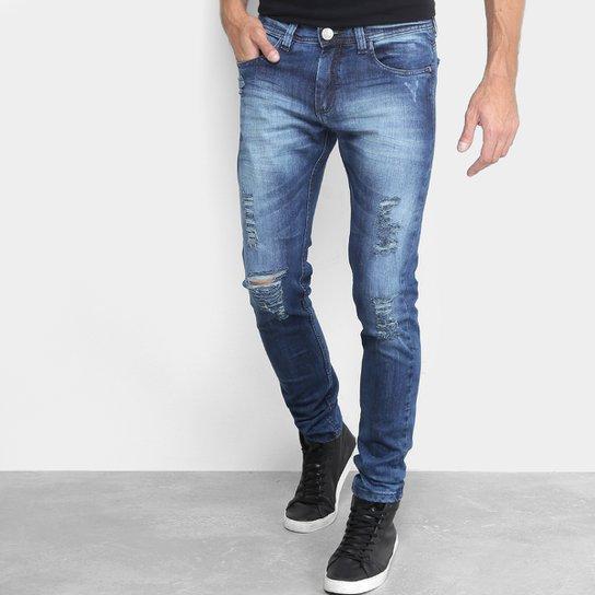 3649b5a7 Calça Jeans Slim Preston Estonada Rasgada Cintura Média Masculina - Jeans