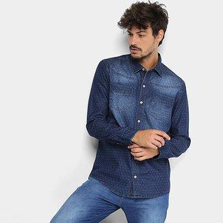 4cf6aa8436 Camisa Jeans Manga Longa Preston Estonada Poá Bolsos Masculina