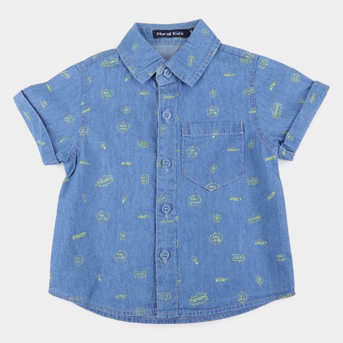 Camisa Jeans Infantil Plural Kids HQ Masculina