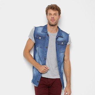 a4ffbe215c1bc Colete Jeans Copen Estonado Bolsos Masculino
