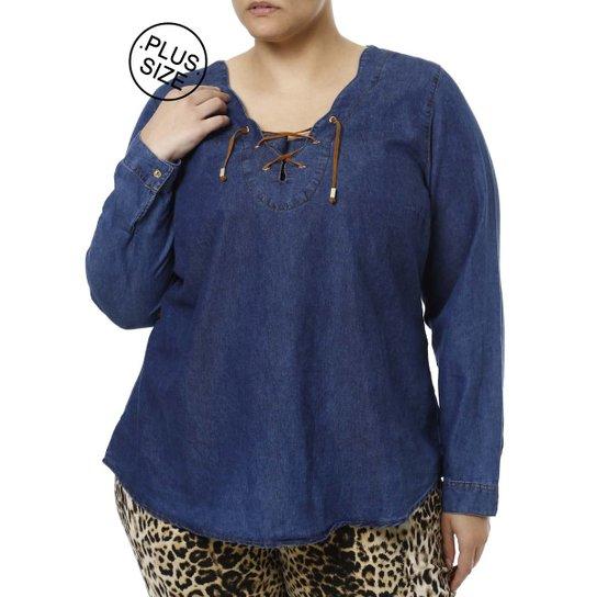 f88d5e06fa Blusa Jeans Manga Longa Plus Size Feminina Azul | Zattini