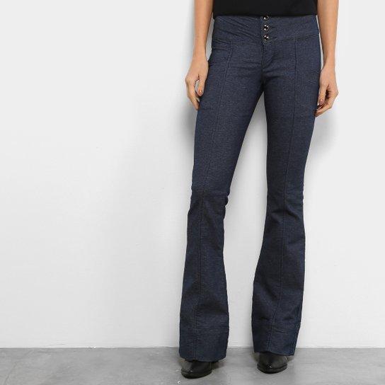 bccf2ff12 Calça Flare Morena Rosa Alfaiataria Botões Cintura Alta Feminina - Jeans